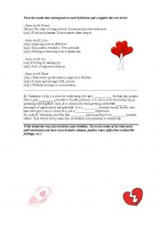 English Worksheet: St. Valentines Day - Prefixes and suffixes
