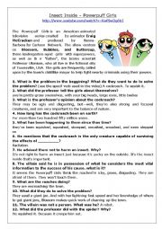 English worksheet: Advanced Listening - PowerPuff girls Cartoon Interpretation