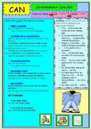 English Worksheet: Modal verb CAN (Grammar Guide + exercise)