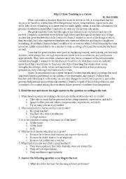 English Worksheet: Why I Chose Teaching as a Career
