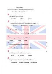English Worksheet: Quiz about UK