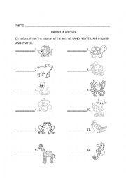 English Worksheet: habitat of animals
