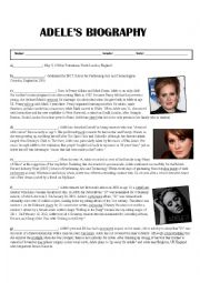 English Worksheet: Adele�s Biography