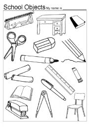 english worksheet classroom objects colouring game