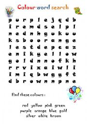 COLOURS - word search