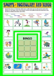 English Worksheet: Sports - vocabulary and bingo