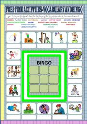 Free time activities - vocabulary and bingo