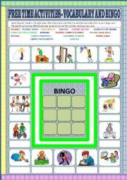 English Worksheet: Free time activities - vocabulary and bingo