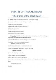 English Worksheet: PIRATES OF THE CARIBBEAN  - The Curse of the Black Pearl
