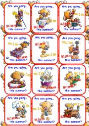 English Worksheet: Teddy cards Set 1/3 Go fish Game!