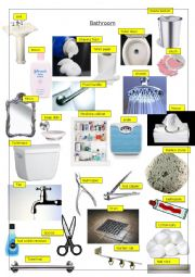 English worksheet: Bathroom Pictionary