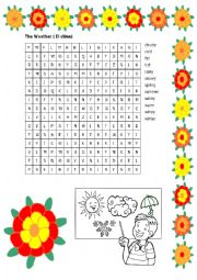 English Worksheet: The Weather Wordsearch