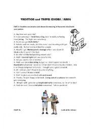 English Worksheet: Travel Vacation idioms slang and vocabulary