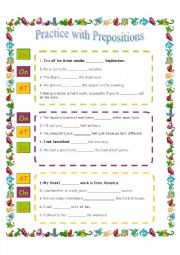 Practice with prepositions (Answer key is included)