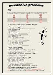 English Worksheet: possessive pronouns and object pronouns