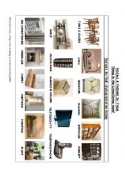 English Worksheet: ROOMS & THINGS IN THEM. THINGS IN THE LIVING-DINING ROOM