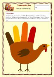 English Worksheet: Turkey Hand Thanksgiving Activity