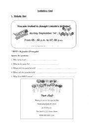 English Worksheet: Invitation Card