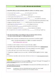 English Worksheet: Relative Clauses: Defining & Non-Defining