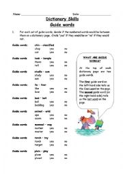 Dictionary worksheet for 2nd grade
