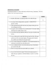 English Worksheet: Sequence of events- Short Story QWERTYUIOP