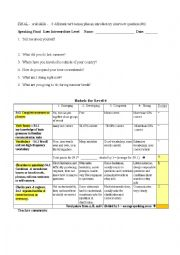 English Worksheet: ESL Speaking Final Assessment