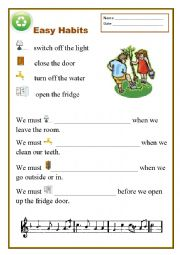 English Worksheet: Easy Habits