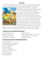 test on simpsons family