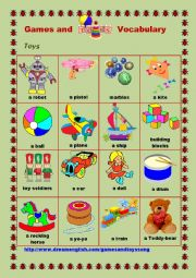 English Worksheet: Games and Toys Vocabulary #2
