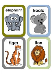 English Worksheet: Wild Animals Flash Cards #1