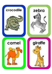English Worksheet: Wild Animals Flash Cards #2