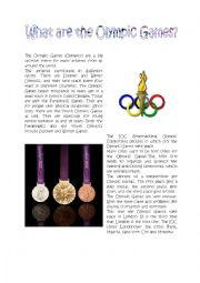 English Worksheet: What are the Olympic Games?