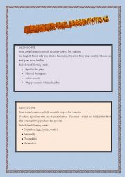 English Worksheet: Intermediate oral presentations
