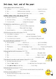 English Worksheet: MORE 3: final test 3rd class, grammar of a whole year + key