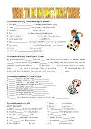 English Worksheet: was / were, wasn�t / weren�t + short answers
