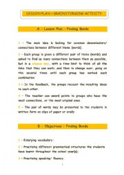 English Worksheet: Brainstorming Activity: finding bonds
