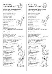 english worksheets the lion king circle of life lyrics. Black Bedroom Furniture Sets. Home Design Ideas