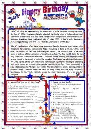 English Worksheet: July 4th_ Happy Birthday America