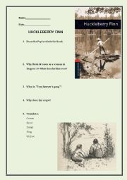Huckleberry Finn (Oxford Bookworms) exam or worksheet