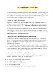 English Worksheet: IELTS Reading Tips