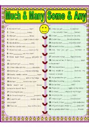 English Worksheet: Much/Many & Some/Any