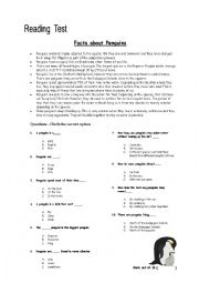 English Worksheet: Reading Comprehension Test. Facts about Penguins