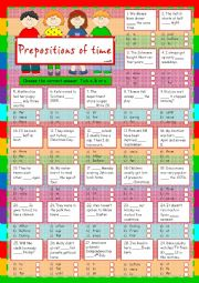 Prepositions of time *IN - ON - AT - FROM - FOR - SINCE - UNTIL - DURING - BY - PAST - AFTER - BEFORE*