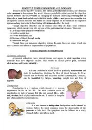English Worksheet: Digestive system disorders and diseases