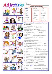 English Worksheet: Adjectives in colour and greyscale with key