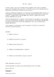 English Worksheet: My City - Liverpool