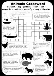 English Worksheet: animals.crossword