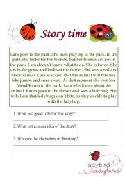 English Worksheet: A simple story about a ladybug