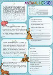 English Worksheet: Animal Heroes