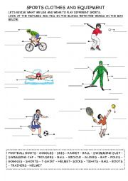 English Worksheet: Sports Clothes and Equipment